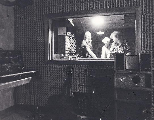 Early Studio: (l to r): Andy Swinford, Sandy and Sheldon Skinkle